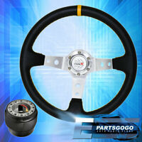 Deep Dish Black Steering Wheel Silver Center Yellow Stitching For 92-95 Civic