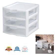 Small Mini Plastic Clear 3 Drawer Storage Organizer Cabinet Unit Box Kitchen New