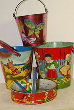 6 pieces sand pails & sifter,Ohio Art , Cohn  &Chein, some out of 30's