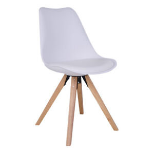 White Leather Dining Chairs Bergen (set of 2)