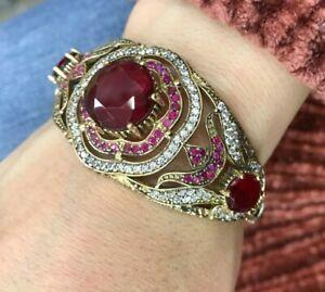 925 Sterling Silver Ruby Vintage Turkish Handmade Bracelet Bangle Cuff