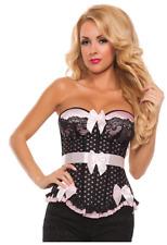 Starline Women's Pink Bow Satin Corset, Black w/Pink Polka Dots, Ruffles, Medium