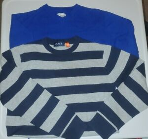 Boys Childrens Place Sweater Size L 10/12 lot of 2 blue gray striped