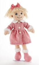 "Blonde Hair Apple Dumplin Doll, Pink Math Motif Coat, 14"", Delton"