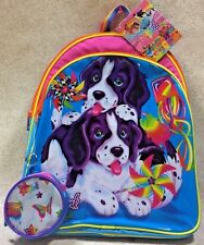 Lisa Frank Backpack Dogs Spaniel Pinwheel Rainbow w/Small Round Case New w/Tags