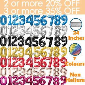 """24"""" Giant Foil Number Balloons Large Birthday Age Party Air non, Helium Large"""