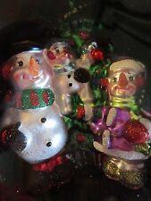 Christopher Radko Sparkle Bright Snowman's Family Ornament Blown Glass