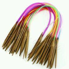Set of 18 40cm rainbow circular bamboo knitting needles 2mm - 10mm UK seller