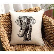 Vintage Home Decor Cotton Linen Elephant Pillow Case Sofa Waist Cushion Cover