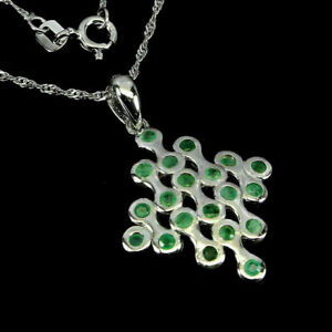 Pendant Green Emerald Genuine Natural Gems Solid Sterling Silver 18 Inch Chain
