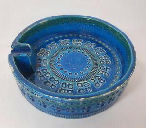 Vintage Bitossi Pottery Ashtray, Rimini Blue, Made In Italy