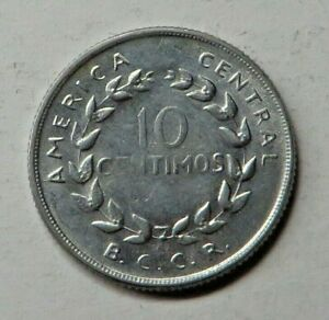 Costa Rica 10 Centimos 1967(s) Stainless Steel KM#185.1a UNC