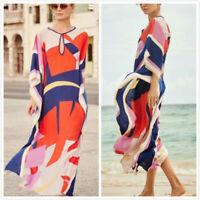 Kaftan Tunic Holiday Kimono Dress Beach Cover up Maxi Dress Long Top UK 10-18