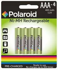 4 x 400mAh Heavy Duty NiMH Rechargeable AAA Batteries Polaroid HR03 Pre Charged