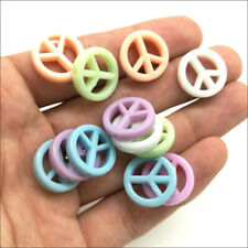 20pcs Peace Sign Acrylic Charms Loose Beads Kid Jewelry DIY Accessories