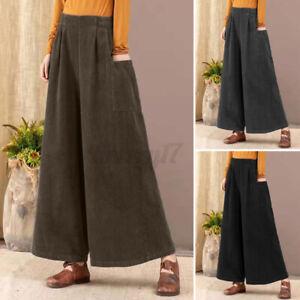 ZANZEA Women Corduroy High Waist Trousers Flare Wide Leg Loose Baggy Chino Pants