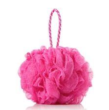 Pink Round Soft Mesh Bath Shower Sponge Pouf Body Scrubber - UK Seller