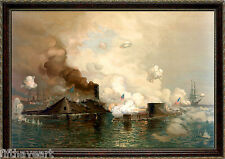 Civil War Battle of the Ironclads Monitor vs Merrimack Framed Art 24x18