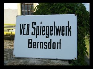 Bernsdorf VEB Spiegelwerk / Emaile Schild / porcelain enamel sign /orig DDR Kult