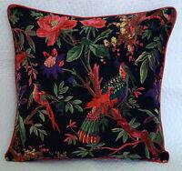 Indian Handmade Vintage Pillow Case Bird Paradise Velvet Cushion Covers Black