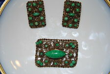 Vintage Oriental Pin And Earring Set Dark Gold Toned Metal With Green Stones