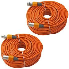 2 ORANGE 100ft 30m meter lead MALE to FEMALE 3pin XLR cables for powered speaker