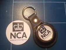 British: National Crime Agency LEATHER KEY RING  &  FREE NCA PHONE STICKER