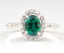 14KT White Gold Natural Green Emerald 1.55Ct EGL Certified Diamond Ring