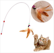 Kitten Cat Pet Toy Wire Chaser Wand Teaser Feather With Bell Beads Play Fun Gift