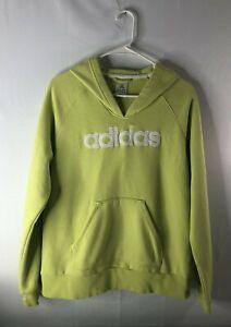 Adidas women's size L pullover yellow/green sweatshirt hoodie pouch pocket