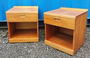 RETRO Mid Century 1970s WHITE & NEWTON bedside tables / drawers Danish Inspired