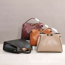 Fashion women real leather peekaboo style handbag messenger bag multi colors