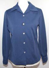 Vtg Ilgwu 60s 70s Blue Solid Shirt Striped Vest Set Usa Made Womens M