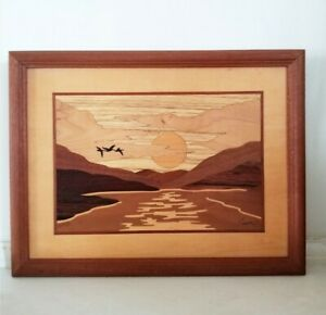 """HUDSON RIVER INLAY """"SUNRISE"""" SIGNED NELSON MARQUETRY WOODEN WALL ART"""