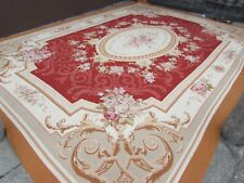 Old Hand Made French Design Wool Burgundy Cream Original Aubusson 500X350cm