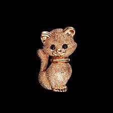 Gold Cat Wedding Bridal Bouquet Rhinestone Crystal Brooch Pin Jewelry Gift