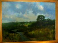 ORIGINAL SIGNED FRANK HANDLEN OIL ON BOARD MARSH IN MAINE SCENE WITH COWS