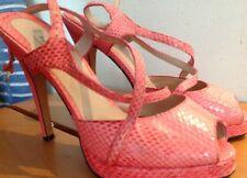 REISS SHOES SIZE 5 38 REAL SNAKE SKIN PEACHY PINK HIGH HEELS VERY GOOD CONDITION