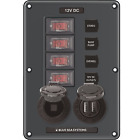 Blue Sea Systems Breakerswitch Panel 4 Swusb12v Gray