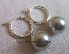 schönen 12mm grau Muschel Perle Hochzeit Partei Schmuck Ohrringe