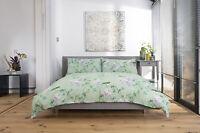 Green Garden Floral & Bird Design Duvet Cover Set Superking Bed Size Polycotton