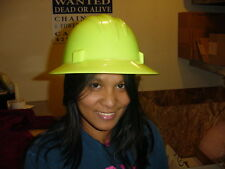 SAFETY PROTECTIVE HARD HAT HELMET FULL BRIM BRIGHT GREEN RATCHET STYLE NEW