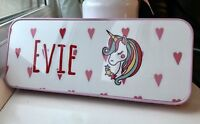 Personalised Unicorn Pencil Case Tin Gift Back To School Pink