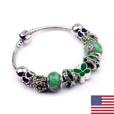 Women 925 Sterling Silver Green Crystal Butterfly Heart Skull Bead Braclet