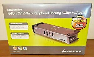 IOGEAR 4-Port DVI KVMP Switch & Peripheral Sharing Switch w/Audio GCS1764 New