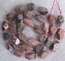 """8x12mm Natural Rhodochrosite Faceted Freeform Loose Beads 15.5"""""""