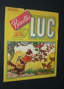 BUVARD 1960-1965 BISCOTTES LUC CHATEAUROUX FABLE LA FONTAINE CHAT ET LE MOINEAU