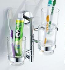 Bathroom Toothbrush Holder Glass Cups Storage Shelf Swivel Rack Wall Bath Hanger