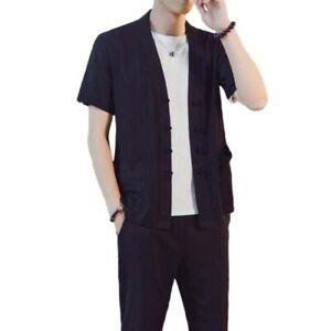 Men's Chinese style Suit Plain Cotton Linen Single Breasted T Shirt Pants 2PCS L