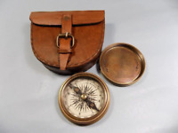 Authentic Vintage Style Brass Pocket Compass with Leather Case For decoration